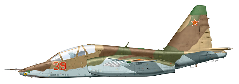 "Су-25УБ  ""борт 39 "" предположительно 461-го ШАП, аэродром Краснодар.  (По информации А. Короткова)."